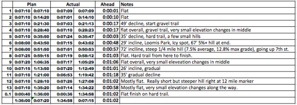 Race plan and notes for each mile.