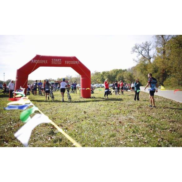 The view at the finish. Dismount and run across the line... Photo from the DSM Adventure Race Facebook page. https://www.facebook.com/dsmadventurerace/photos_stream